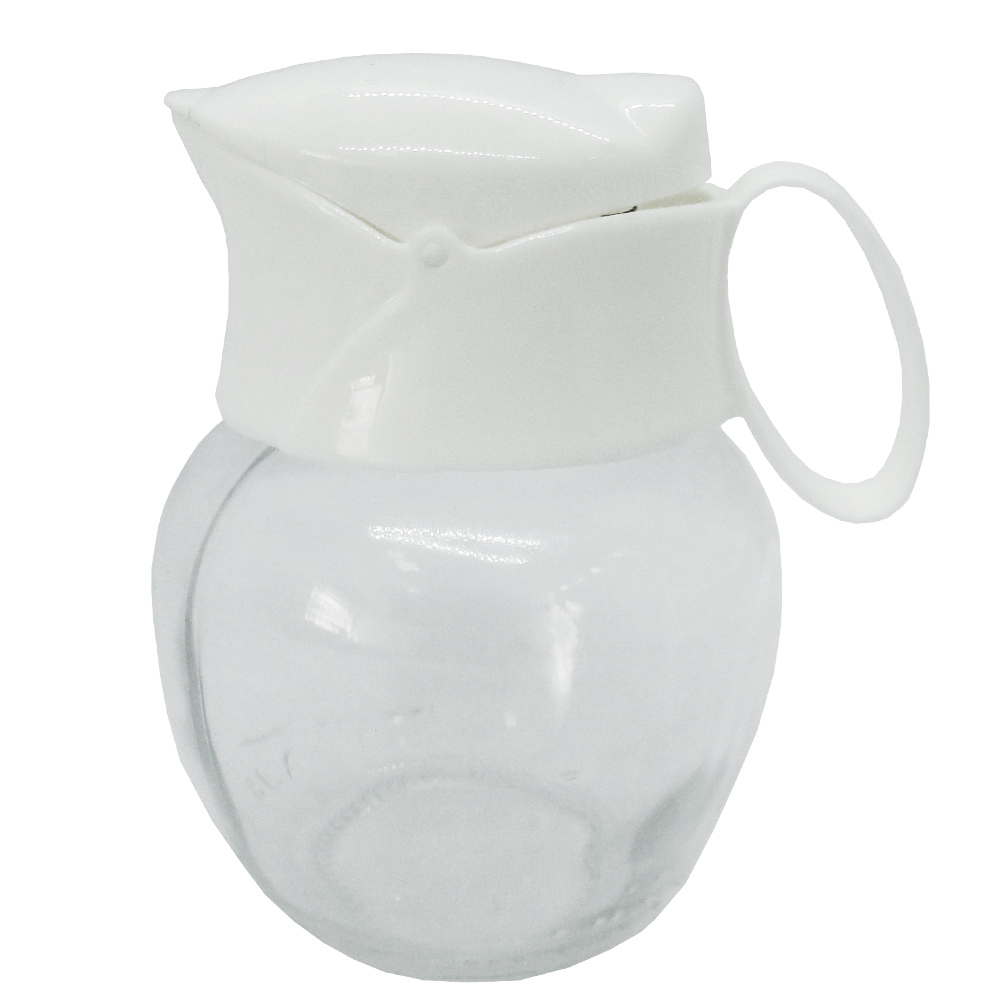 MINI JARRA DE VIDRO CREAM PITCHER COM TAMPA + ALCA DE PLASTICO COLORS 210ML