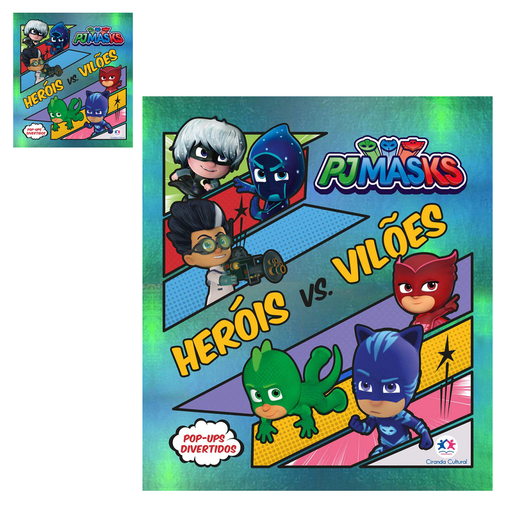 LIVRO POP-UPS DIVERTIDOS PJ MASKS HEROIS VS VILOES 20X20CM