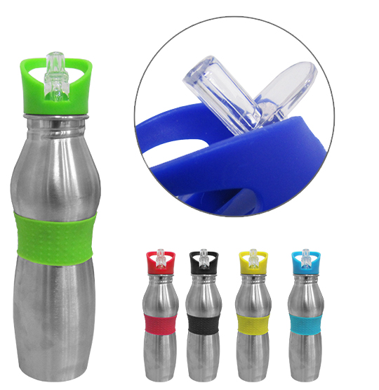 GARRAFA / SQUEEZE DE INOX COM TAMPA FLIP TOP COLORS 600ML